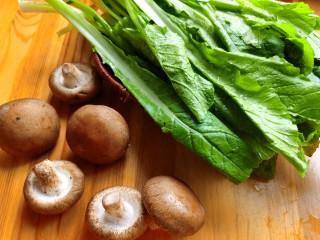 香菇炒青菜,准备所需食材。