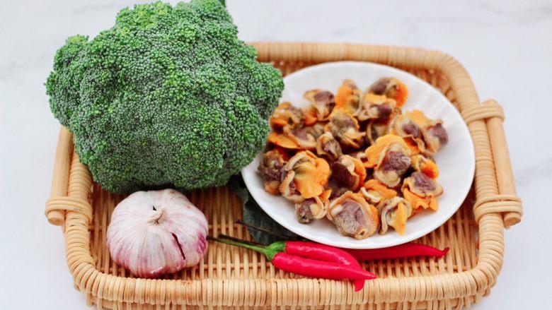 毛蛤酱拌西兰花,首先备齐所有的食材,毛蛤肉是我提前煮熟剥出来的肉,放到冰箱冷冻起来,想吃的时候就取一些。