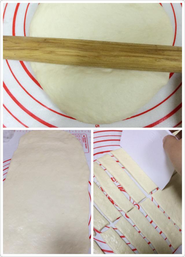 油条,然后用擀面杖擀成0.5厘米厚的大片(不要太薄,不然炸出来里面不柔软),然后用刮刀切成10厘米长3厘米宽左右的长条;(也可以根据你锅的大小切成适合你的长度和宽度)
