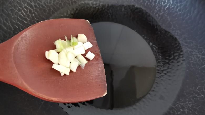 清炒胡萝卜丝,放入蒜片葱段爆香