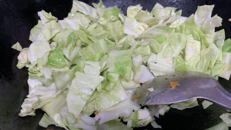 香菜炒圆白菜,放油