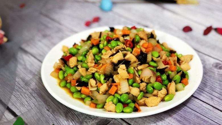毛豆炒鸡丁,成品