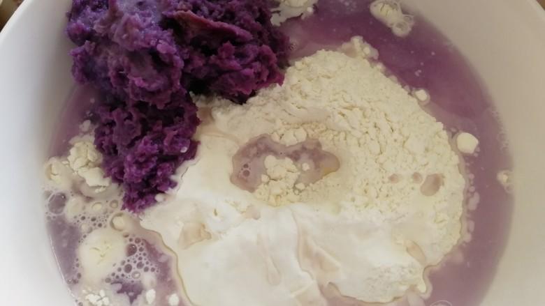 南瓜紫薯包,加一碗温水。