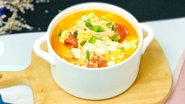 金针菇豆腐汤,色香味俱佳
