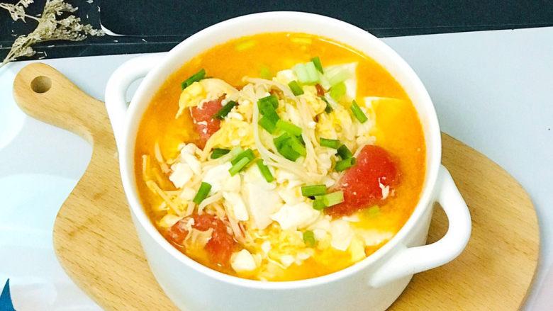 金针菇豆腐汤,上米饭喽