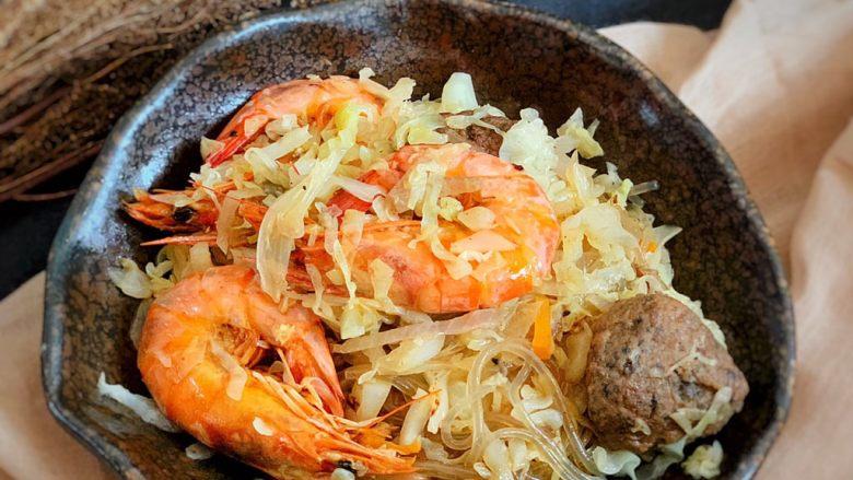 圆白菜炒虾,完成