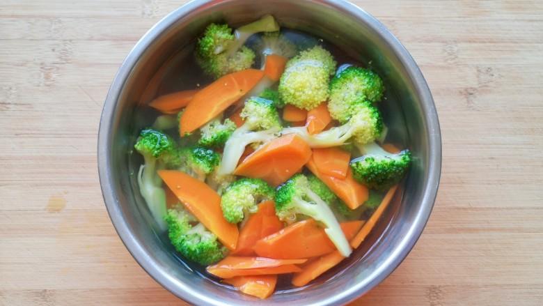 胡萝卜炒虾仁,将焯过水的西蓝花和胡萝卜过凉水,捞出控一下水分备用。