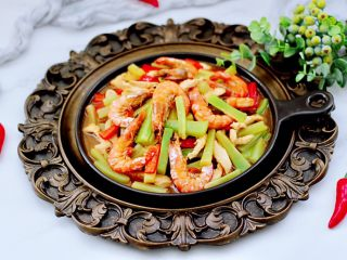 鸡肉海虾莴苣小炒