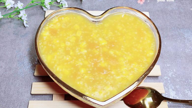 玉米南瓜粥,具有健脾祛湿功效。
