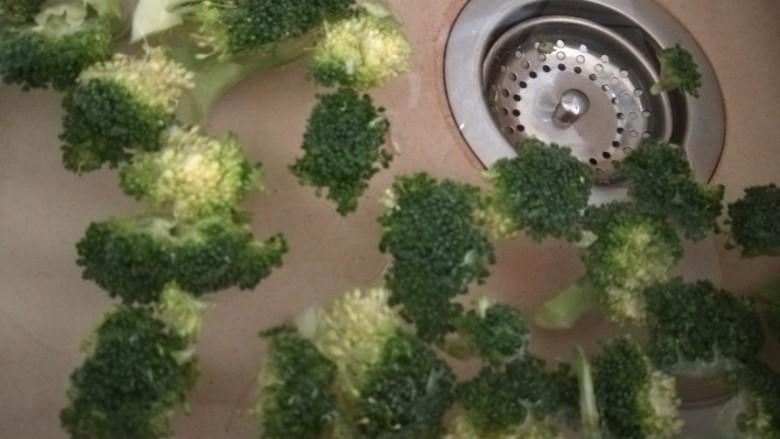 干锅西兰花,用刀片成小朵。