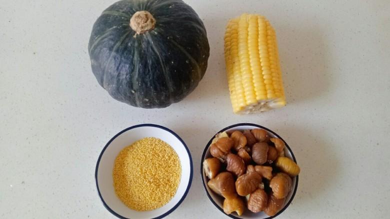 玉米南瓜粥,准备食材