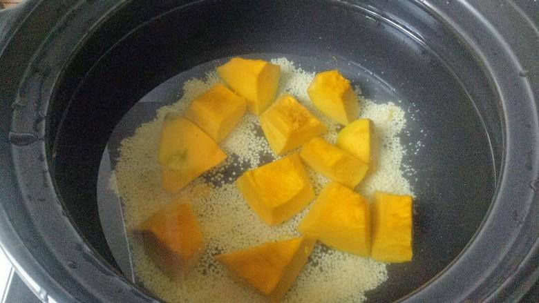 玉米南瓜粥,放入南瓜块