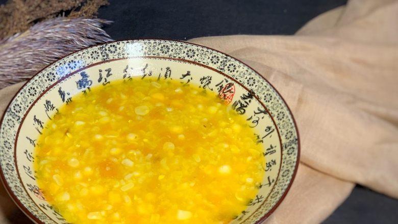 玉米南瓜粥,出锅