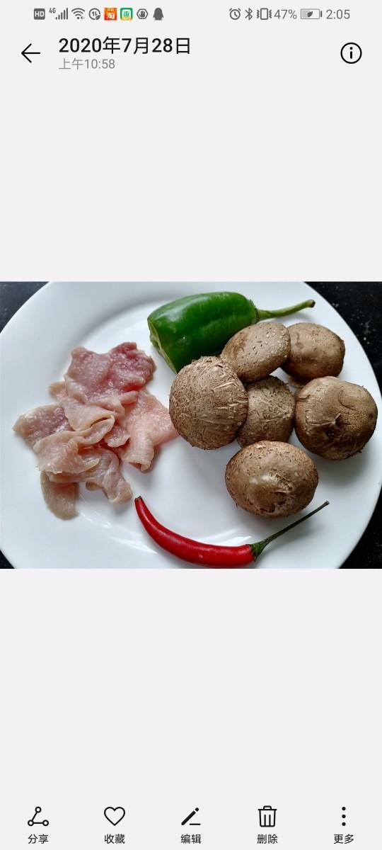 香菇肉片,准备好所需材料