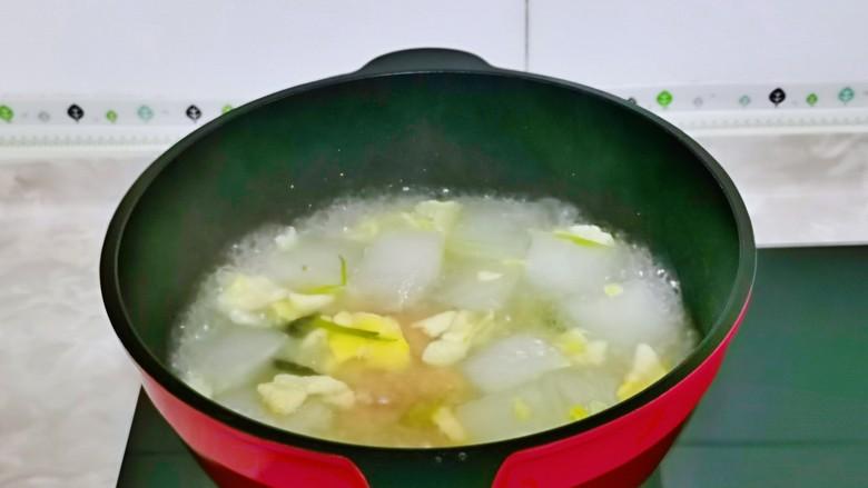 冬瓜鸡蛋汤,大火煮30秒关火。