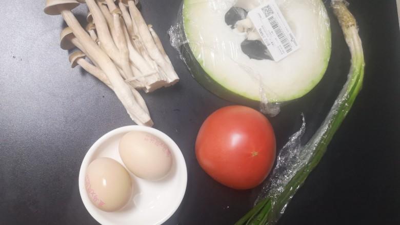 冬瓜鸡蛋汤,食材准备好