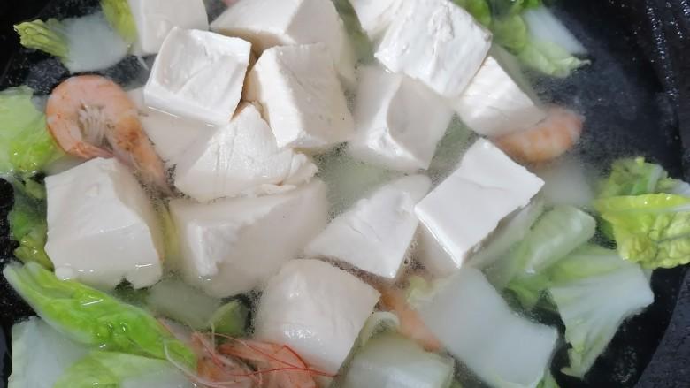 白菜豆腐汤,水烧开放入豆腐煮