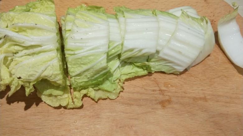 白菜豆腐汤,白菜切成大块。