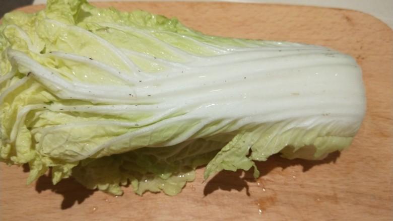 白菜豆腐汤,白菜切掉根部。