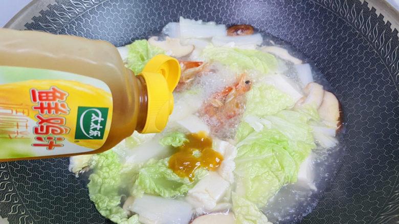 白菜豆腐汤,挤入两滴太太乐鲜鸡汁