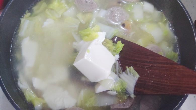 白菜豆腐汤,搅拌均匀
