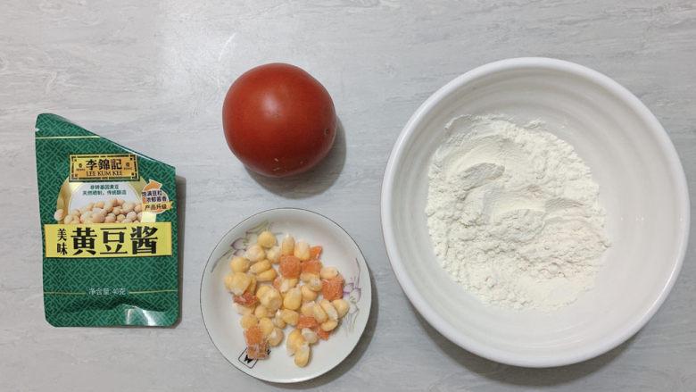 西红柿面疙瘩,食材如图,所示示意。