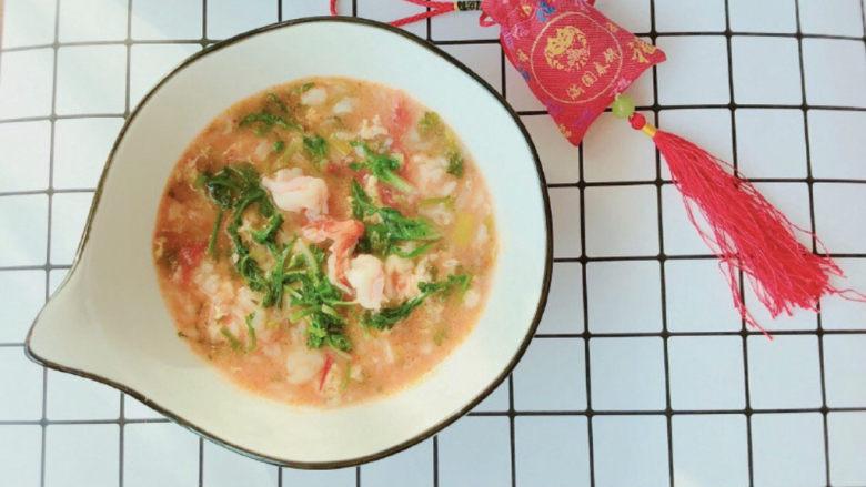 西红柿虾仁面疙瘩汤,装盘享用吧,全营养早餐