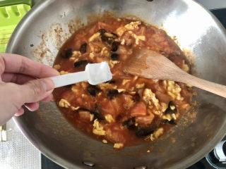 西紅柿雞蛋拌面,半茶匙白糖