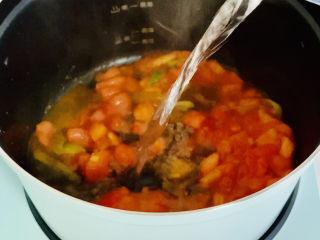 西紅柿面疙瘩,加入適量的水燒開。