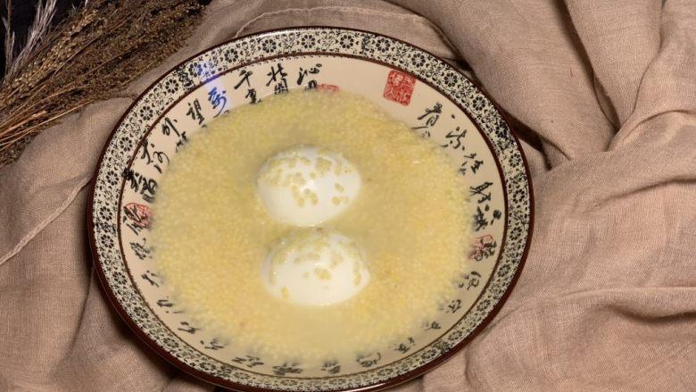 鸡蛋小米粥,出锅