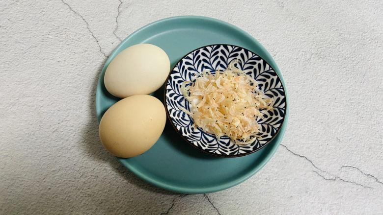 虾皮鸡蛋羹,准备好食材