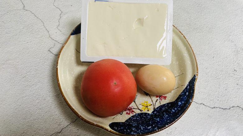 番茄豆腐汤,准备好食材