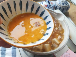 番茄豆腐湯,再次沸騰,加入雞蛋液,煮沸騰就好了