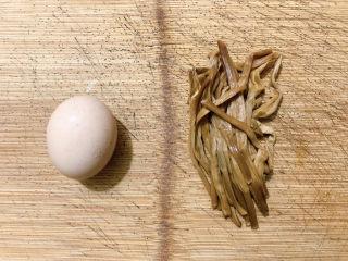 黃花菜炒雞蛋,主要食材如圖所示示意,一顆雞蛋、黃花菜適量