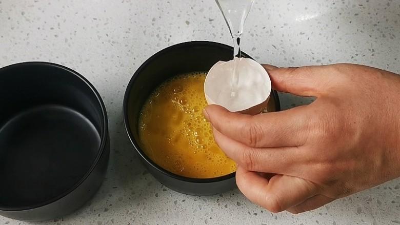 蒸水蛋,6份温水,温水不超过50度