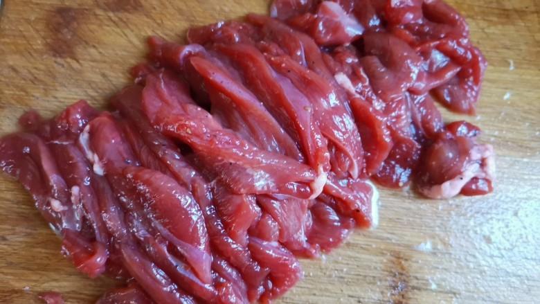 尖椒牛柳,牛肉切薄片