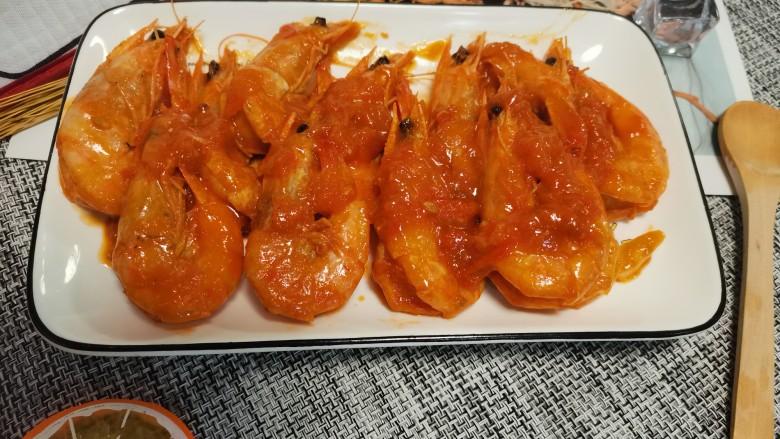 茄汁大虾,收汁