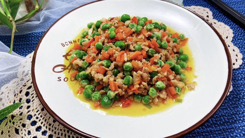 清炒甜豆➕肉末胡萝卜炒豌豆,成品