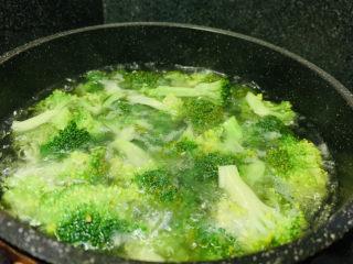 蒜蓉西蘭花,再燒一鍋水,加少許鹽和油,大火燒開,加入西蘭花