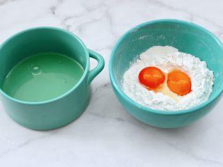 酸奶水果松饼,蛋清和蛋黄分离,把蛋黄放入过筛的低粉中。