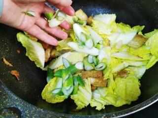 白菜炒豆腐,放入葱花