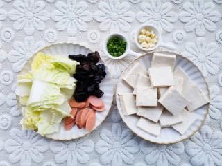 白菜炒豆腐,食材洗净,豆腐切块,白菜切段,火腿切片,葱蒜切末。
