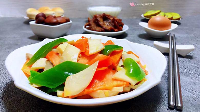 胡萝卜炒杏鲍菇,健康营养丰盛的早餐是对自己最好的奖励