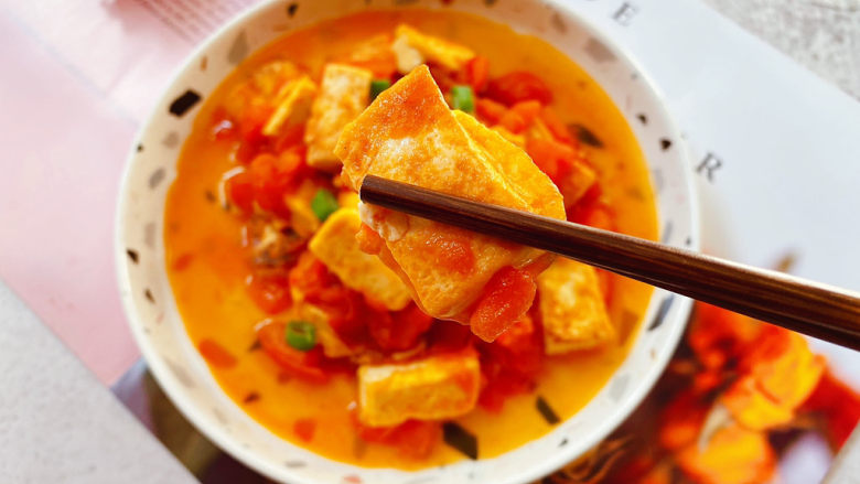 西红柿炒豆腐,成品图。