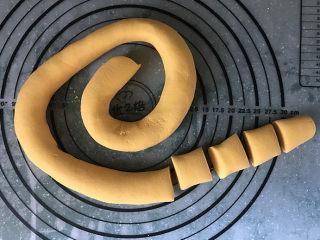 南瓜汤圆,搓成长条,切成小剂子