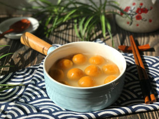 南瓜汤圆,关火,盛入碗中