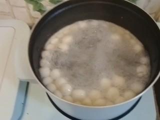 水果汤圆,开水下锅,煮至飘起。