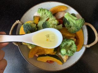 低脂时蔬烤鸡腿,所有蔬菜洗净切小块,加一勺橄榄油