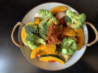 低脂时蔬烤鸡腿,一勺辣椒粉