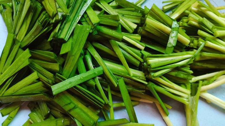 韭菜炒粉丝,洗好的韭菜切段